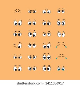 Cartoon of black and white eyes with yellow background. set of vectors - Vector