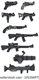 Cartoon black and white guns, rifles, submachines, revolver and shotgun isolated on white background. Vector weapons firearms icons.