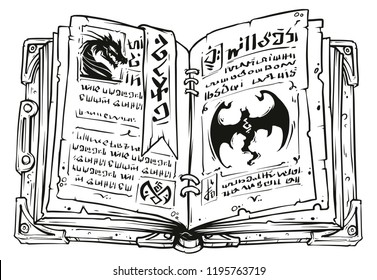 Cartoon black and white old open magic spell book with dragons, strange symbols and bookmark. Isolated on white background. Vector icon.