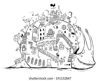 cartoon black and white snail-house