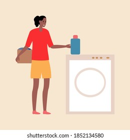 Cartoon black woman with beautiful hair holds a box of clothes near the washing machine. Flat vector style. A girl in a red shirt and yellow shorts takes powder to wash her clothes. Housekeeper work.