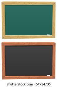 Cartoon blackboard colored in 2 different ways.