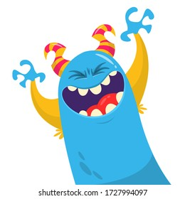 Cartoon blob monster. Halloween vector illustration of excited monster