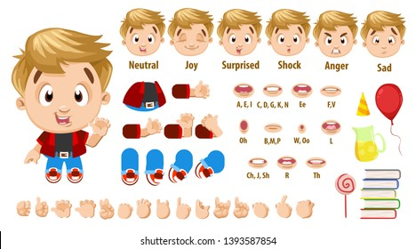Cartoon blond boy in red shirt constructor for animation. Parts of body: legs, arms, face emotions, hands gestures, lips sync. Full length, front, three quater view. Set of ready to use poses, objects