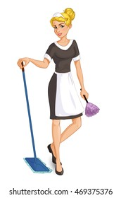 Cartoon blonde chambermaid with mop and duster, vector image, eps10