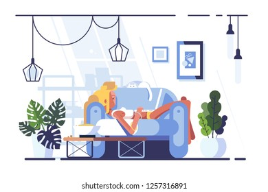 Cartoon blonde relaxing with laptop on sofa. Young woman lying on bed and using notebook flat style vector illustration. Social media communication concept