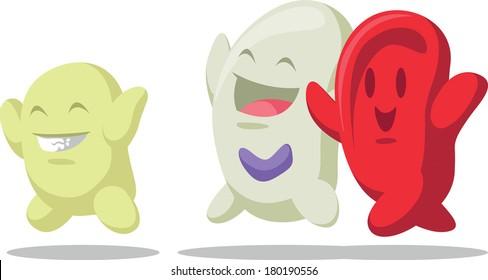 Cartoon of Blood Cell - Erythrocytes, Leukocytes, Thrombocytes