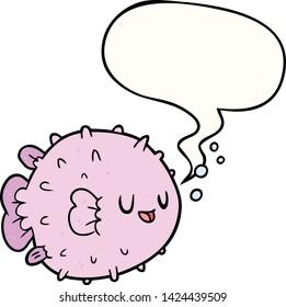 cartoon blowfish with speech bubble