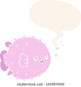 cartoon blowfish with speech bubble in retro style
