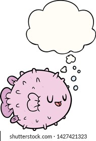 cartoon blowfish with thought bubble
