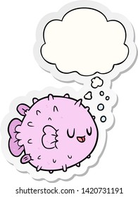 cartoon blowfish with thought bubble as a printed sticker