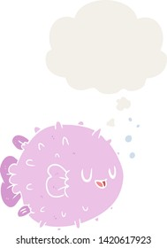 cartoon blowfish with thought bubble in retro style