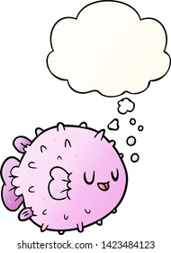 cartoon blowfish with thought bubble in smooth gradient style