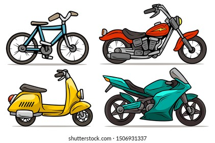 Cartoon blue bicycle, retro red motorbike with yellow lightning, sport modern motorbike and yellow vintage retro scooter. Isolated on white background. Vector icon set.