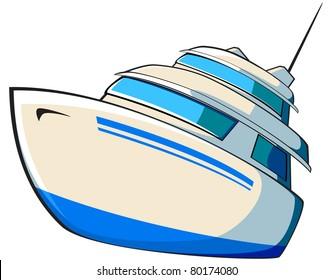 cartoon blue boat