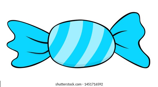 Cartoon blue candy icon. Bonbon vector illustration clipart isolated on white background.