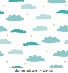 Cartoon blue clouds and stars seamless pattern. Vector hand drawn illustration.