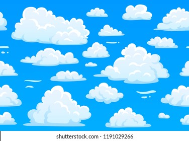 Cartoon blue cloudy sky. Horizontal seamless pattern with white fluffy clouds, cumulus weather atmosphere. 2d game overcast sky. Beautiful bright cloudscape vector texture background