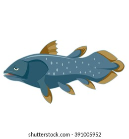 Cartoon blue Coelacanth