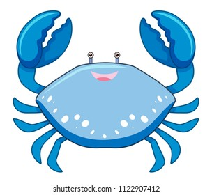 A Cartoon Blue Crab on White Background illustration