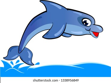 Cartoon blue dolphin jumping and diving in water on white background. Vector illustration.