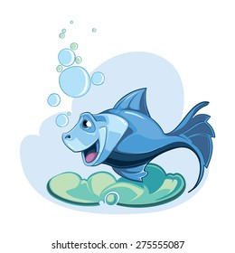 cartoon blue fish isolate on white background