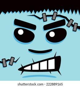 Cartoon Blue Frank Face