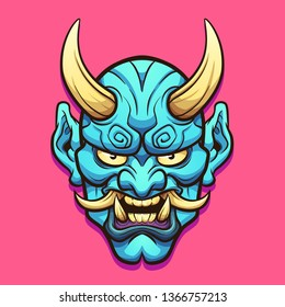 Cartoon blue horned Japanese demon mask clip art. Vector illustration with simple gradients. Some elements on separate layers.