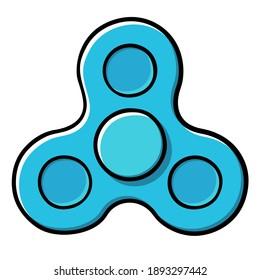 Cartoon blue spinner vector illustration