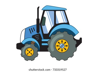 Cartoon Blue Tractor Isolated on White Background