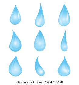 Cartoon blue water drop set. Vector illustration