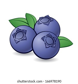 Cartoon blueberry with green leaves on white background.