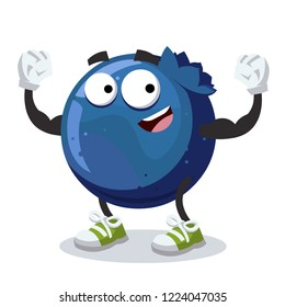 cartoon blueberry mascot shows its strength on a white background