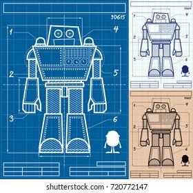 Cartoon blueprint of giant robot in 3 versions.