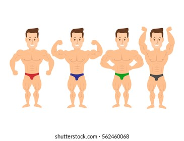 cartoon bodybuilder muscle man in various poses on white background
