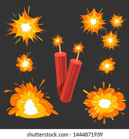 Cartoon bomb collection and explosion effect - vector