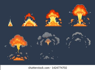 Cartoon bomb explosion animation. Exploding animated frames, atomic explode effect and explosions smoke. Dynamite bomb, firing blast shots game animation or gaming exploded vector illustration set