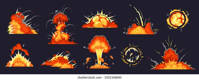 Cartoon bomb explosion. Dynamite explosions, danger explosive bomb detonation and atomic bombs cloud comics. Bomb dynamites detonators mobile game animation. Isolated vector illustration icons set