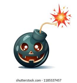 Cartoon bomb, pumpkin characters. Halloween illustration Vector eps 10