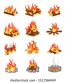 Cartoon bonfire. Summer campfires flame with firewood. Burning stacked wood. Flat gaming camping design isolated vector set