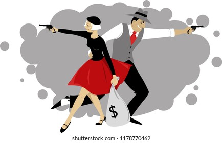 Cartoon Bonnie and Clyde firing guns and holding a bank sack with money, EPS 8 vector illustration
