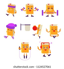Cartoon book character athlete working out in gym set. Paper books doing dumbbell exercise, meditating, jogging, ice-skating. Vector humanized sport textbook for kindergarten school kids design.