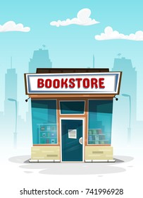 Cartoon bookstore. Front view. Vector Illustration banner.
