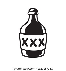 Cartoon bootle of moonshine with three X label. Black and white drawing of alcohol bottle. Vector illustration.