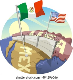 cartoon border wall between mexico and the united states illustration