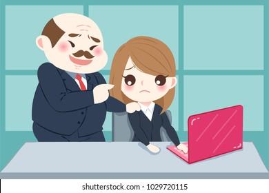 cartoon boss harassing woman in the office