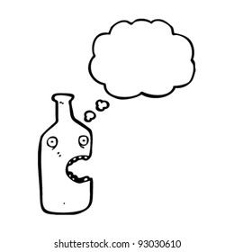 cartoon bottle with thought bubble