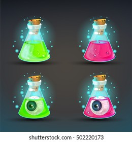 Cartoon bottles with poison