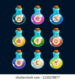 Cartoon bottles with poison in different colors, vector elements for game design.
