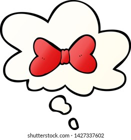cartoon bow tie with thought bubble in smooth gradient style